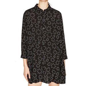 Zara Black Star Print Tunic Swing Dress